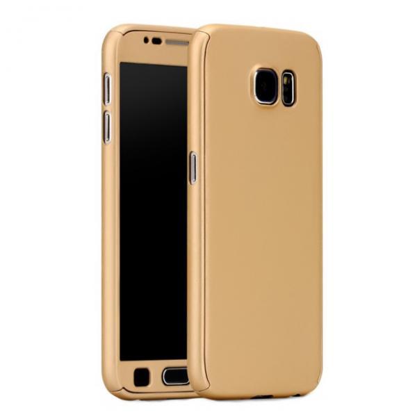 Husa Full Cover 360 (fata + spate + geam sticla) pentru Samsung Galaxy S6, Gold 0