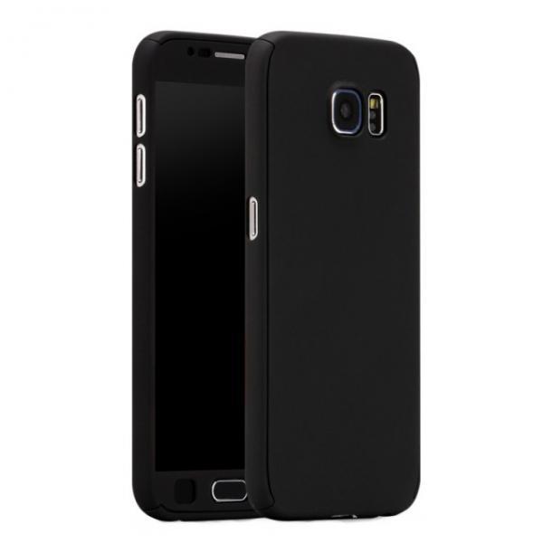 Husa Full Cover 360 (fata + spate + geam sticla) pentru Samsung Galaxy S6, Negru