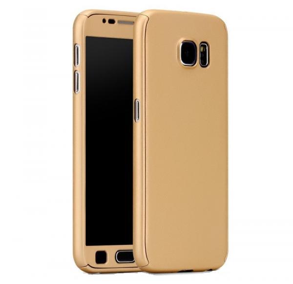 Husa Full Cover 360 (fata + spate + geam sticla) pentru Samsung Galaxy S7, Gold 0