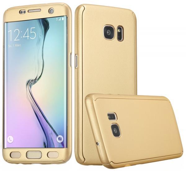 Husa Full Cover 360 (fata + spate) pentru Samsung Galaxy S6 Edge, Gold 0
