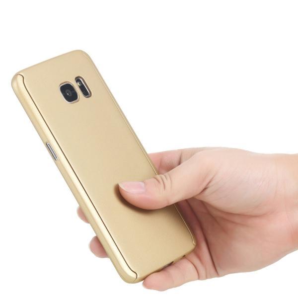 Husa Full Cover 360 (fata + spate) pentru Samsung Galaxy S7 Edge, Gold