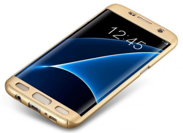 Husa Full Cover 360 (fata + spate) pentru Samsung Galaxy S7 Edge, Gold 1