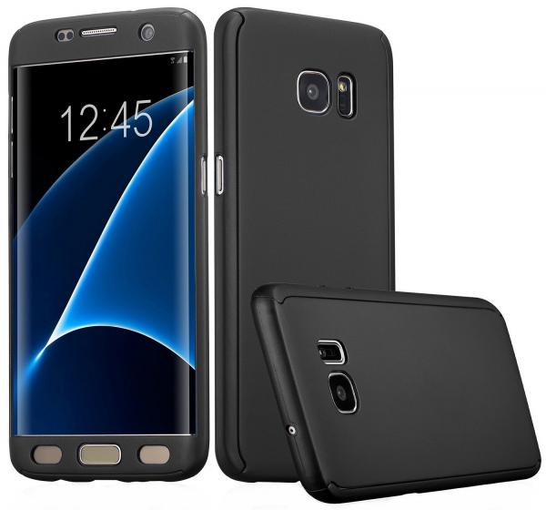 Husa Full Cover 360 (fata + spate) pentru Samsung Galaxy S7 Edge, Negru 0