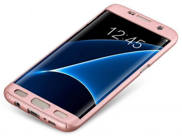 Husa Full Cover 360 (fata + spate) pentru Samsung Galaxy S7 Edge, Rose Gold 1