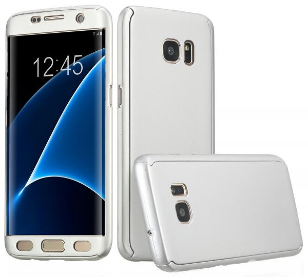 Husa Full Cover 360 (fata + spate) pentru Samsung Galaxy S7 Edge, Silver 0