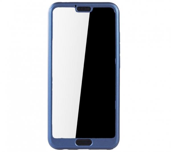 Husa Full Cover 360 + folie sticla Huawei Honor 10, Albastru [2]