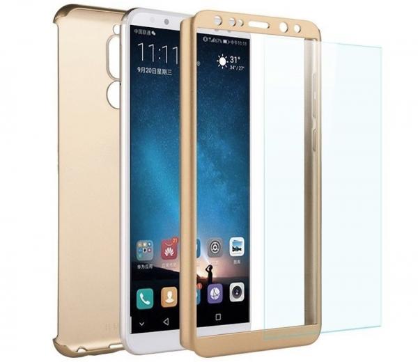 Husa Full Cover 360 + folie sticla Huawei Mate 10 Lite, Gold 1