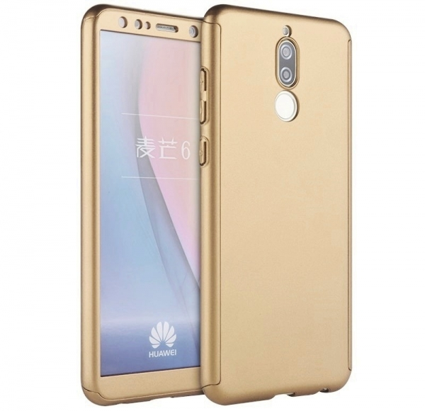 Husa Full Cover 360 + folie sticla Huawei Mate 10 Lite, Gold 0