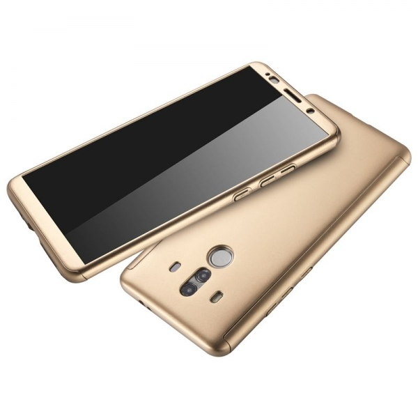 Husa Full Cover 360 + folie sticla Huawei Mate 10 Pro, Gold 2