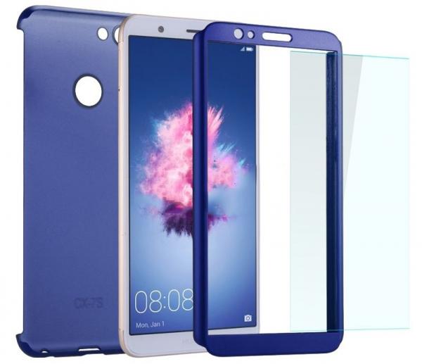 Husa Full Cover 360 + folie sticla Huawei P Smart, Albastru [2]