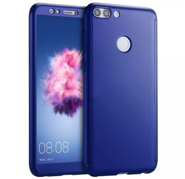 Husa Full Cover 360 + folie sticla Huawei P Smart, Albastru [0]
