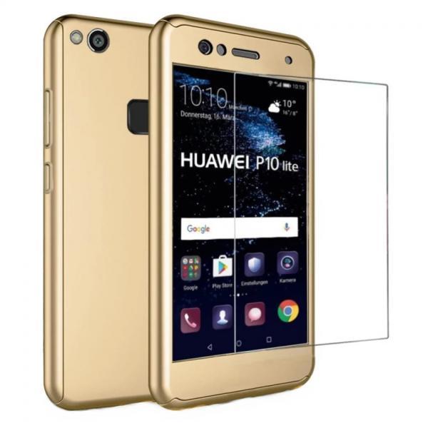 Husa Full Cover 360 + folie sticla Huawei P10 Lite, Gold