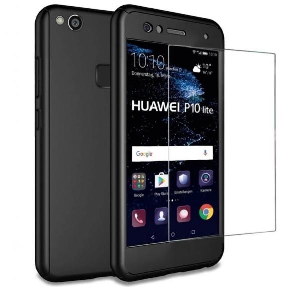 Husa Full Cover 360 + folie sticla Huawei P10 Lite, Negru 0