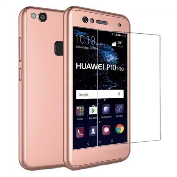 Husa Full Cover 360 + folie sticla Huawei P10 Lite, Rose Gold 0