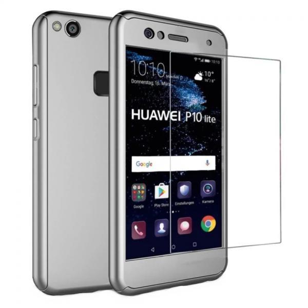 Husa Full Cover 360 + folie sticla Huawei P10 Lite, Silver 0
