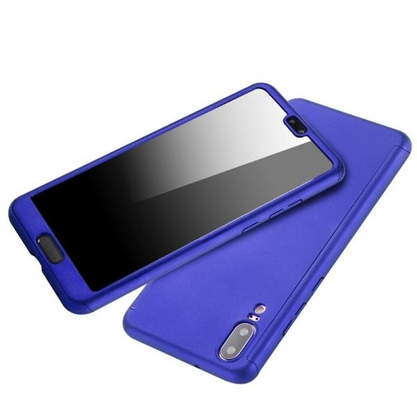 Husa Full Cover 360 + folie sticla Huawei P20, Albastru 2
