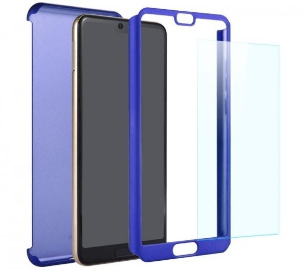 Husa Full Cover 360 + folie sticla Huawei P20, Albastru 1