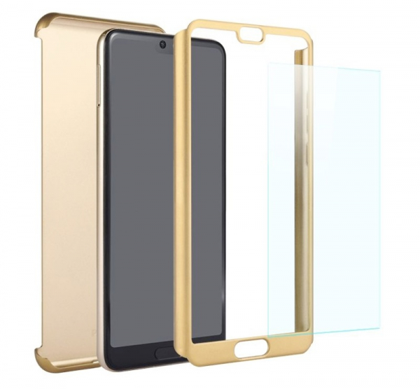 Husa Full Cover 360 + folie sticla Huawei P20, Gold 1
