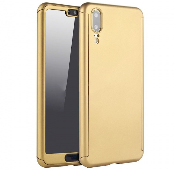 Husa Full Cover 360 + folie sticla Huawei P20, Gold 0
