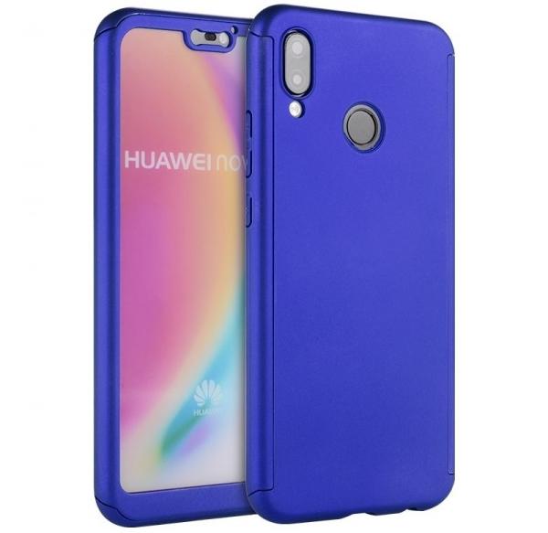 Husa Full Cover 360 + folie sticla Huawei P20 Lite, Albastru 0