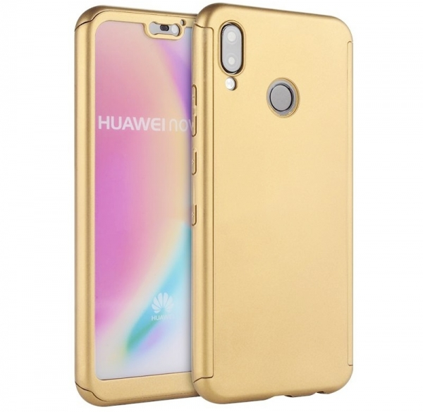 Husa Full Cover 360 + folie sticla Huawei P20 Lite, Gold [0]