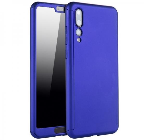 Husa Full Cover 360 + folie sticla Huawei P20 Pro, Albastru 0