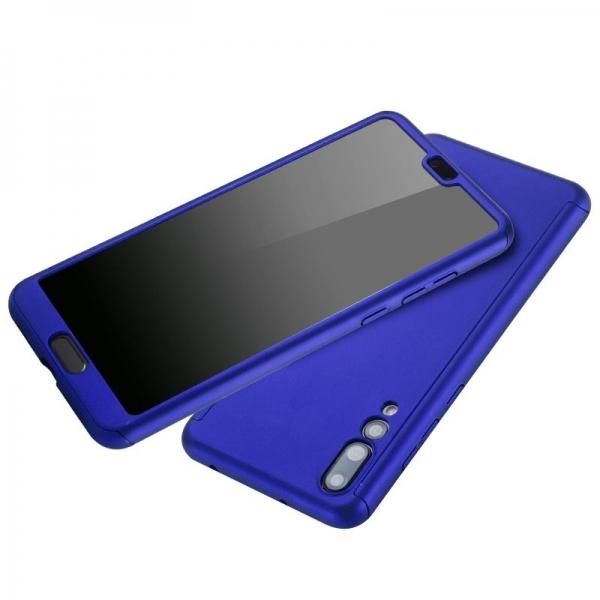 Husa Full Cover 360 + folie sticla Huawei P20 Pro, Albastru 2
