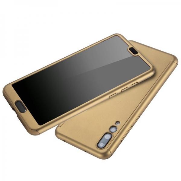 Husa Full Cover 360 + folie sticla Huawei P20 Pro, Gold [2]