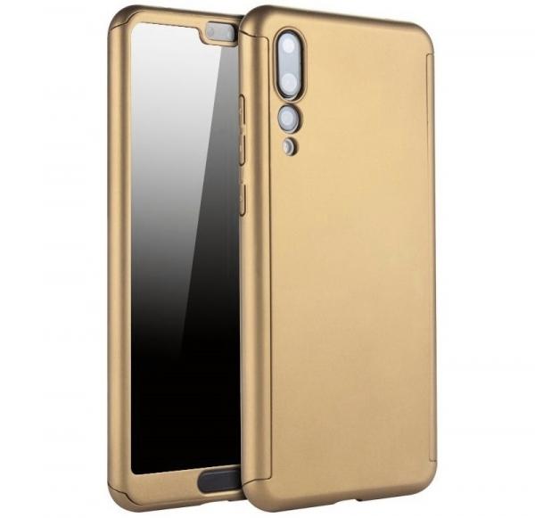 Husa Full Cover 360 + folie sticla Huawei P20 Pro, Gold [0]