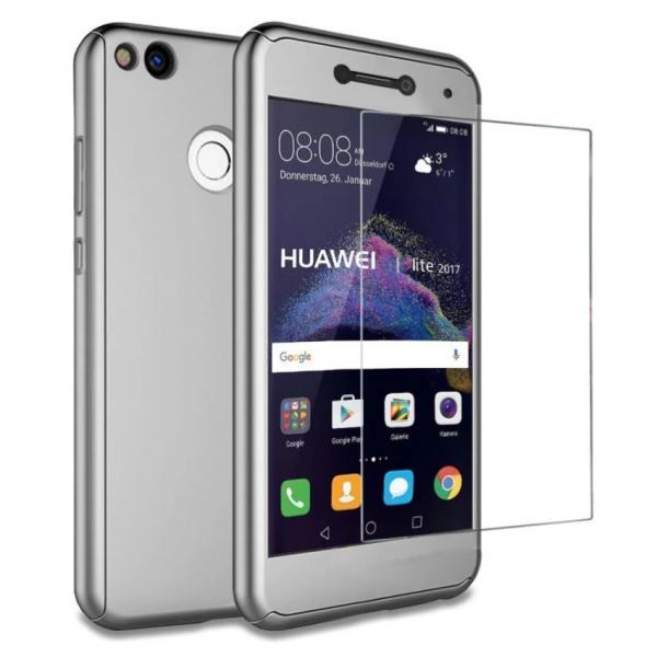 Husa Full Cover 360 + folie sticla Huawei P9 Lite 2017, Silver 0