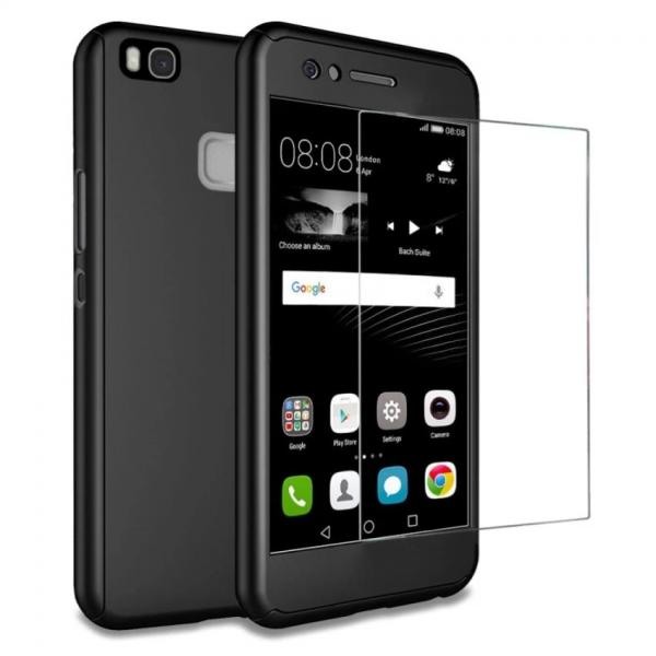 Husa Full Cover 360 + folie sticla Huawei P9 Lite, Negru 0