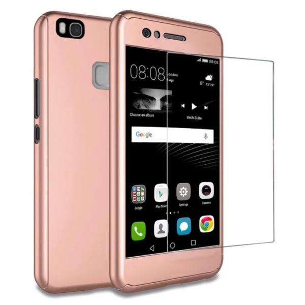 Husa Full Cover 360 + folie sticla Huawei P9 Lite, Rose Gold 0