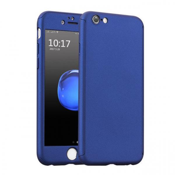 Husa Full Cover 360 + folie sticla iPhone 5 / 5S / SE, Albastru [0]