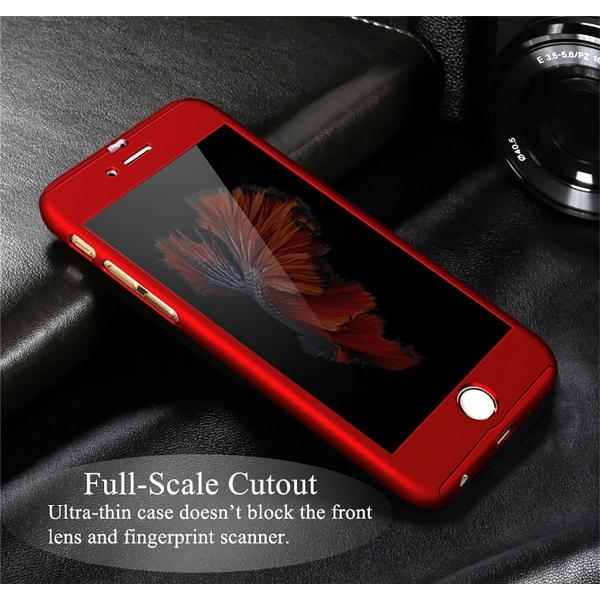 Husa Full Cover 360 + folie sticla iPhone 6 / 6S, Red 3