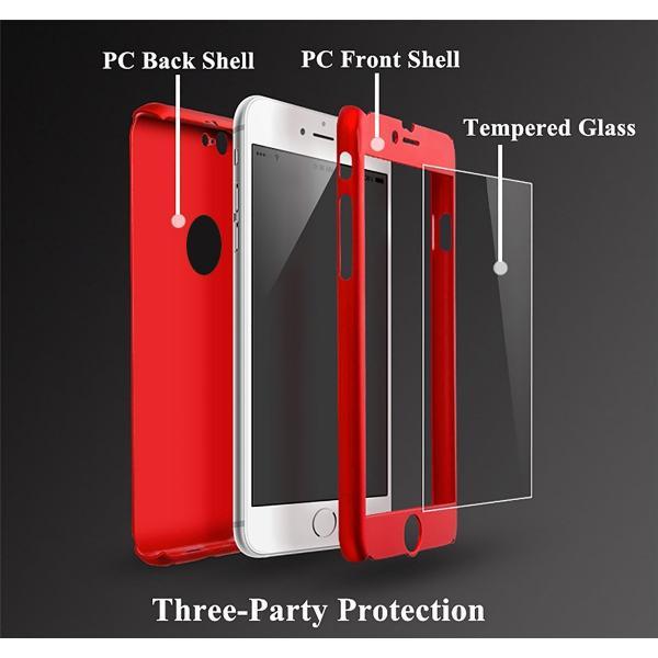 Husa Full Cover 360 + folie sticla iPhone 6 / 6S, Red 1