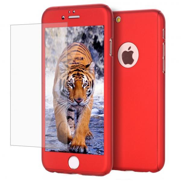 Husa Full Cover 360 + folie sticla iPhone 7, Red