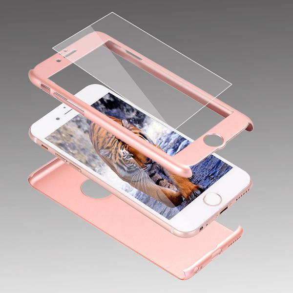 Husa Full Cover 360 + folie sticla iPhone 7, Rose Gold 1
