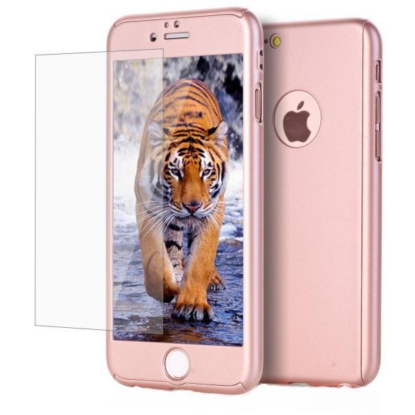 Husa Full Cover 360 + folie sticla iPhone 7, Rose Gold 0