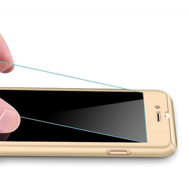 Husa Full Cover 360 + folie sticla iPhone 8, Gold 1