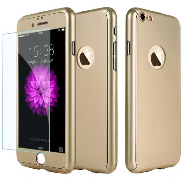Husa Full Cover 360 + folie sticla iPhone 8, Gold 0