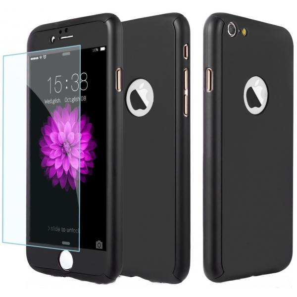 Husa Full Cover 360 + folie sticla iPhone 8, Negru