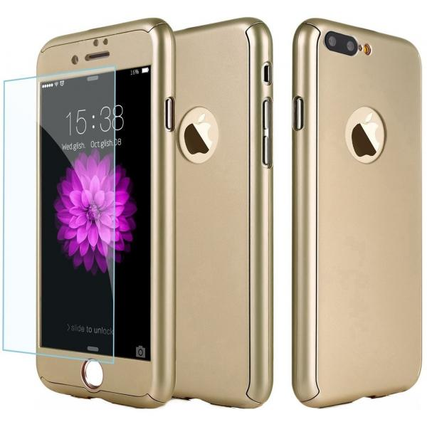 Husa Full Cover 360 + folie sticla iPhone 8 Plus, Gold 0