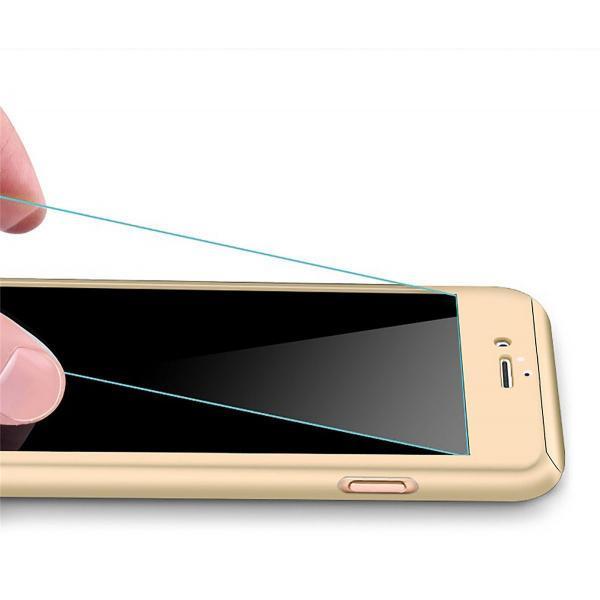 Husa Full Cover 360 + folie sticla iPhone 8 Plus, Gold 1