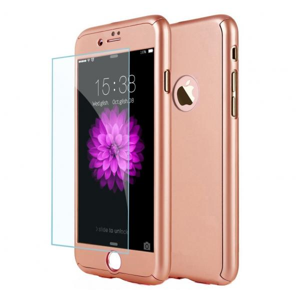 Husa Full Cover 360 + folie sticla iPhone 8 Plus, Rose Gold 0