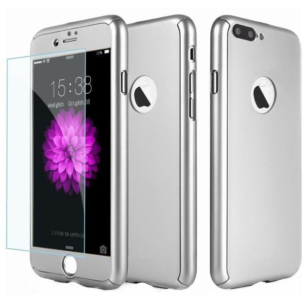 Husa Full Cover 360 + folie sticla iPhone 8 Plus, Silver 0