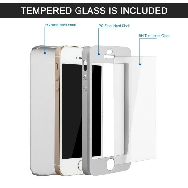 Husa Full Cover 360 + folie sticla iPhone SE / 5 / 5S, Silver 1
