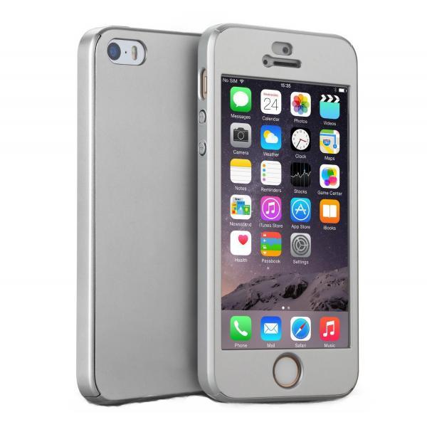Husa Full Cover 360 + folie sticla iPhone SE / 5 / 5S, Silver 0