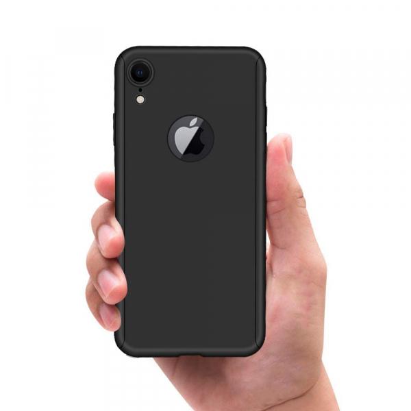 Husa Full Cover 360 + folie sticla iPhone XR, Negru 2