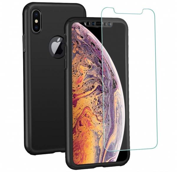 Husa Full Cover 360 + folie sticla iPhone XS Max, Negru 0