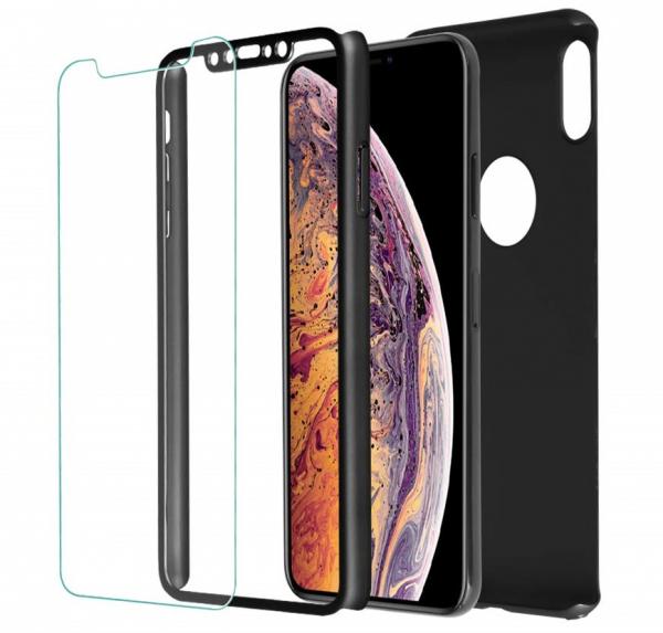 Husa Full Cover 360 + folie sticla iPhone XS Max, Negru 1